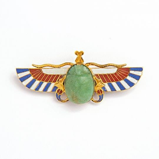 Art Deco Jade, Enamel and Inlay Scarab Beetle Brooch