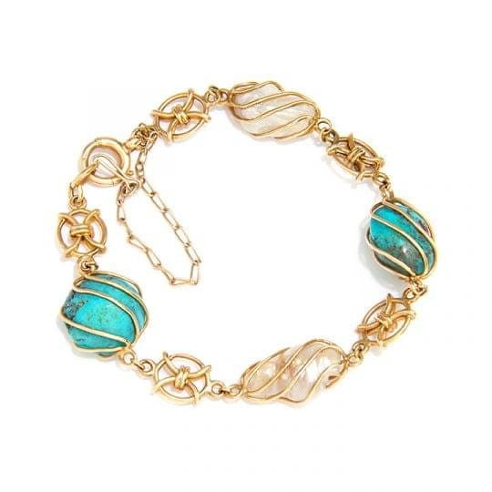 Turquoise and Pearl 15ct yellow gold wirework bracelet