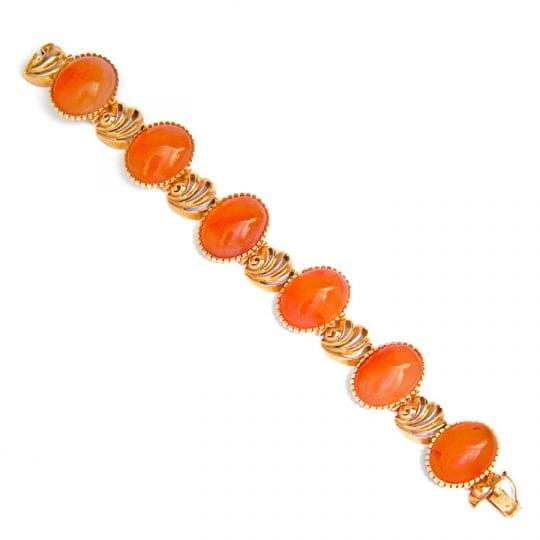 18ct yellow gold carnelian bracelet