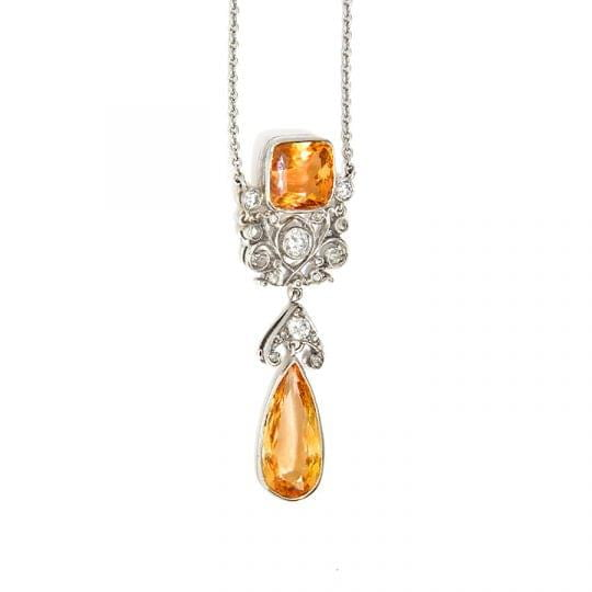 platinum brazilian topaz diamond necklace